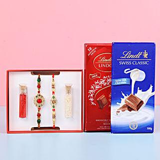 Fancy & Meenakari Rakhis With Lindt Chocolates: Set of 2 Rakhis
