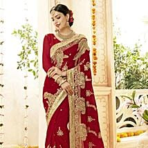 Faux Georgette Wedding Saree in Red and Gold: Karwa Chauth Gifts to Chandigarh