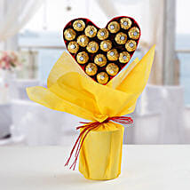 Ferrero Rocher Heart Bouquet: Gifts For Kiss Day