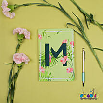 Floral Green Doodle Initial Diary: Customized Gifts for Her
