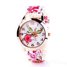 Floral Silicone Watch For Women: Birthday Gifts for Girlfriend