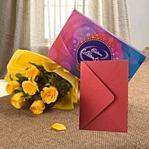 Flower Hamper N Greeting Card: Flowers & Chocolates for Friendship Day