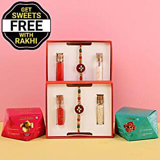 Free Sweet Boxes With Designer Rakhi Set: Set of 2 Rakhis