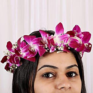 Fresh Orchid Floral Tiara: