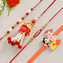 Funky & Colorful Set of 4 Rakhis: Send Rakhi to Rajpur Sonarpur