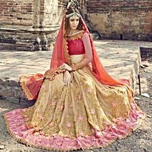 Georgette Red and Beige Heavy Embroidered Saree: Karwa Chauth Gifts for Bahu