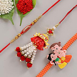 Glorious & Colorful Rakhi Set of 3: Buy Set of 3 Rakhis