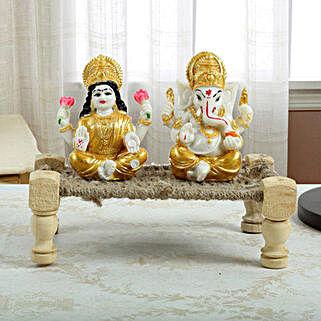 Golden Lakshmi N Ganesha on Charpai: Laxmi Ganesh Gifts