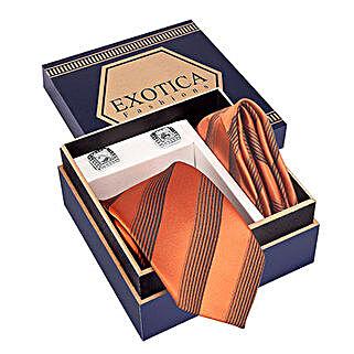 Golden Orange N Black Tie Set: Send Ties and Cufflinks