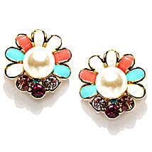 Golden Peacock Multi Coloured Flower Earrings: Gold Plated Gifts