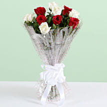 Graceful 10 White & Red Roses Bouquet: Diwali Flowers