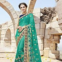 Green and Blue Contrast Embroidered Saree: Apparel Gifts