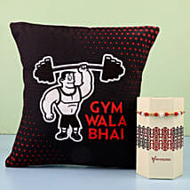 Gym Wala Bhai Cushion & Rakhi Combo: Send Rakhi to Bhatpara