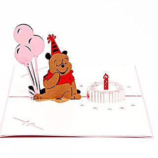Handmade 3D Winnie The Pooh Pop Up Birthday Greeting Card: Buy Greeting Cards