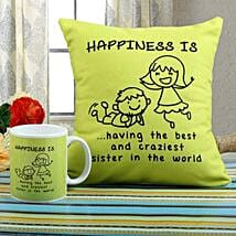 Happiness Mug N Cushion Combo: Rakhi to Vidisha