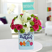 Happy Birthday Mixed Flowers Arrangement: Birthday Gifts for Friend