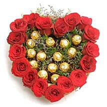Heart Shape Love: Flowers & Chocolates Faridabad