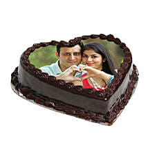 Heart Shape Photo Chocolate Cake: Valentine Personalised Gifts for Boyfriend