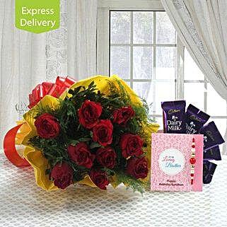 Heartfelt Rakhi Feelings: Rakhi with Flowers