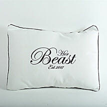 Her Beast Personalized Cushion: Hyderabad anniversary gifts