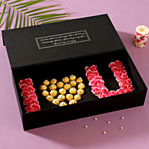 I Love U Artificial Roses & Chocolates Box: Send Flowers to East Godavari