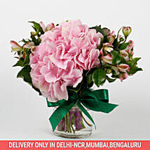 Imported Light Pink Hydrangea Flowers in Glass Vase: