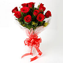 Impressive Charm- Bouquet of 10 Red Roses: Send Flowers to Panna