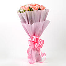 Impressive Pink Roses Bouquet: Send Flowers to Mussoorie