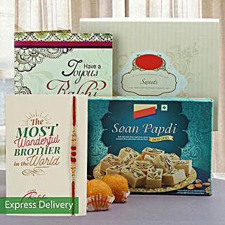 Joyous Rakhi And Sweets Hamper: Rakhi to Jalna