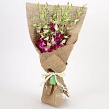 Jute Wrapped 6 Purple Orchids Bunch: Send Flowers to Purba Medinipur