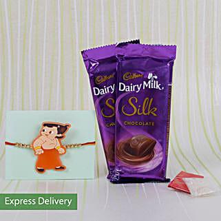 Kids Rakhi With Silk Chocolates: Send Cartoon Rakhi