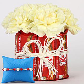Kit Kat & Carnations Arrangement With Rakhi: Flower Combos