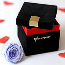 Lavender Blue Forever Rose In Velvet Box: Flower Delivery in Etah
