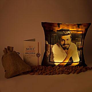 LED Cushion Rakhi Combo: Personalised Cushions for Rakhi