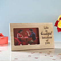 Life is Beautiful Engraved Wooden Frame: Karwa Chauth Photo Frames