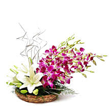 Lilies And Orchids Basket Arrangement: Anniversary Flowers for Her