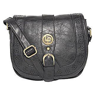 Lino Perros Black Laser Cut Sling Bag: Sling Bags