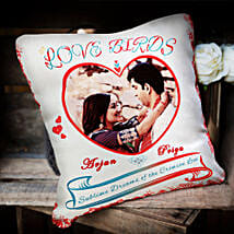 Love Birds Personalized Cushion: Anniversary Gifts for Bhaiya Bhabhi