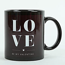 Love Ceramic Black Mug: Send Valentine Gifts to Panchkula