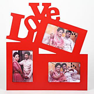 Red Love Photo Frame: Karwa Chauth Photo Frames