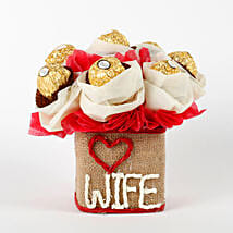 Love Wife Ferrero Rocher Chocolates Vase Arrangement: Chocolates Shopping India