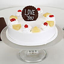 Love You Valentine Pineapple Cake: Cake Delivery in Kollam