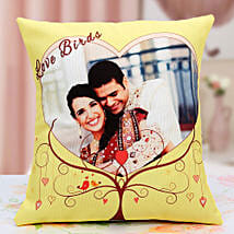 Lovebirds Personalized Cushion: Send Personalised Gifts to Kashipur