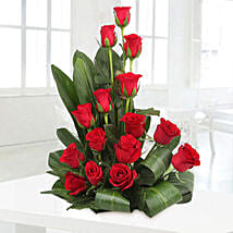 Lovely Red Roses Basket Arrangement: Anniversary Flowers for Her