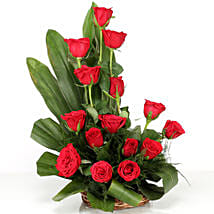 Lovely Red Roses Basket Arrangement: Flowers for Birthday