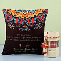Lumba Rakhi Set & Cushion Combo For Sister: Rakhi to Bhatpara