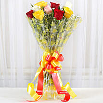 Magical Multicolored Roses Bouquet: Crackers
