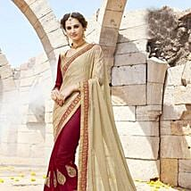Maroon and Beige Embroidered Saree: Karwa Chauth Gifts to Jalandhar