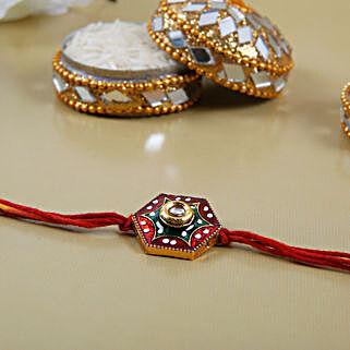 Meenakari Diamond Shaped Rakhi: Ethnic Rakhi