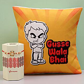 Meenakari Rakhi & Angry Bro Cushion Combo: Rakhi to Tambaram